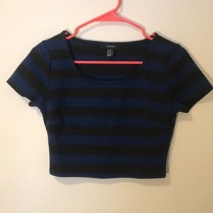 Striped black and blue crop top